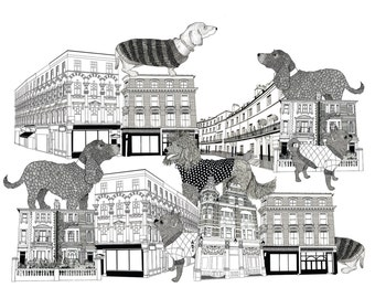Pooches of Chelsea A3 Print
