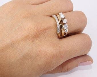 Diamond Ring Enhancer, 14k Gold Diamond Ring