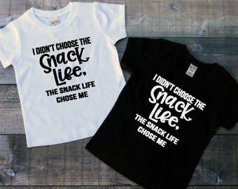 Snack Life Shirt, Toddler Life Shirt, Trendy Kids Shirt, Toddler Tees, Baby Boy Shirts, Baby Shower Gift, Baby Girl Shirts, Hipster Baby Tee