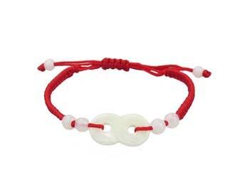 Lucky Genuine Jade Kabbalah Charm Bracelet