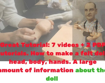 Big Tutorial!Video-Make a felt doll on the frame,make a head,body,hands.How to do a body part a felt doll. And 2 PDF file,INSTANT DOWNLOAD