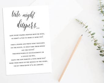Late Night Diapers Baby Shower Game, Baby Shower Game, Printable Baby Shower Game