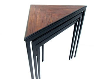 Vintage Triangular Nesting Tables || Urban Geometric Industrial Wrought Iron & Herringbone Wood Accent Tables || CUSTOM OPTIONS AVAILABLE