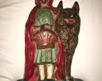 Vintage Cast Iron Little Red Riding Hood Door Stop, Some Chips, See Pics, Really Good Shape, Rare