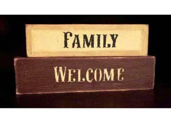 primitive wood family welcome blocks