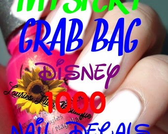 Mystery grab bag surprise 1000 mix lot disney Waterslide Nail Decals Free Shipping