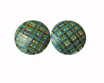 Custom Boys Plaid Hand Painted Drawer Pulls Knobs