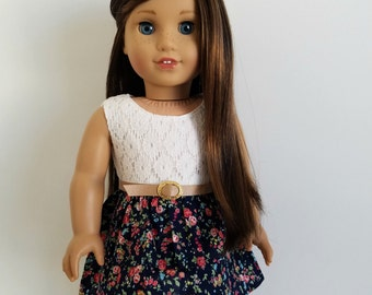 Lace and Navy Floral Belted Dress