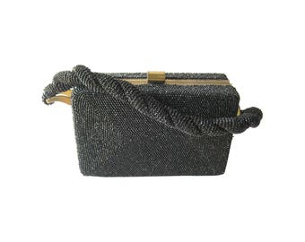 Black Beaded Box Purse With Braided Handle - Vintage Handbag - Black Purse - Vintage Purse - Beaded Purse
