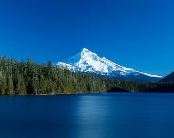 Mt Hood Photograph, Mountain Photo, Oregon Landscape Photography, Lost Lake, Cascades, Wall Decor, Fine Art, Snow, Trees, Calm Long Exposure