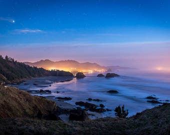 Landscape Photography, Ocean Photography, Night Photography, Haystack Rock, Cannon Beach, Fine Art, Pacific Northwest, Wall Art, Nature