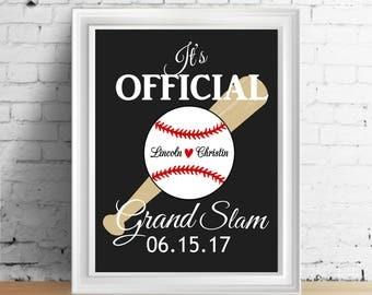 Baseball Decor, Wedding Gift, Couples Gift, Baseball Print, Personalized Gift, Personalized Wedding Gift, Anniversary Gift, Baseball Couple