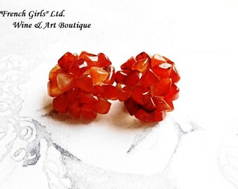 Raw Carnelian Gemstone Clip on Earrings Red Carnelian Gemstone Women Fashion Flower Shaped Earrings Floral Boho Jewelry Bohemian Clipon