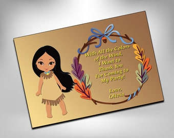 Pocahontas, Thank You, Thank You Cards, Printable, Birthday, Disney, Thank You Card, Princess