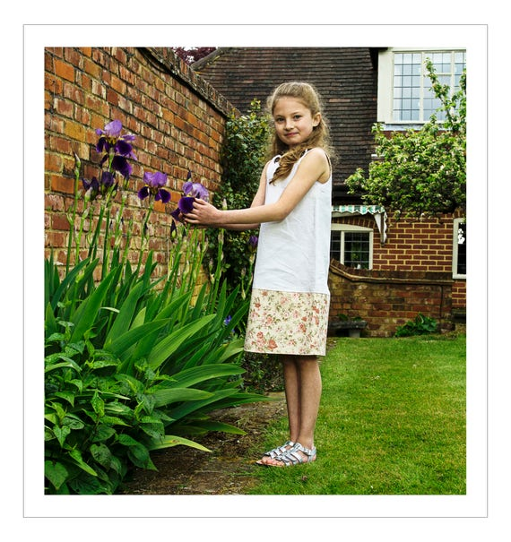 Girl's dress made using vintage French linen and floral fabric (56)