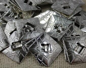 Vintage Silver Square Conchos (6 pieces)