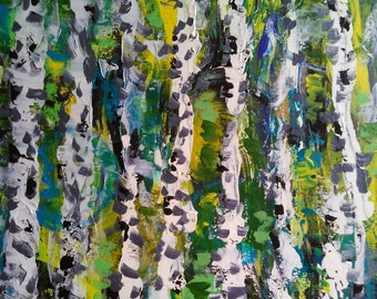 Abstract summer birch forest acrylic painting on canvas 16*16""