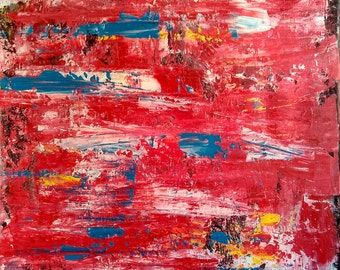 Abstract red blue acrylic painting on canvas 16*20""