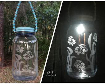 Etched Engraved Glass Gift - End Of School Year Teacher Present - Hanging Outdoor Fish Lights - Decorative Garden Lighting - Solar Lights