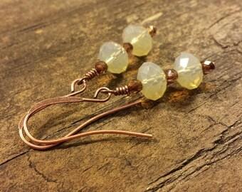 Opal Earrings, Sand Opal Earrings, Crystal Earrings, Dangle Earrings, Boho Earrings, Drop Earrings