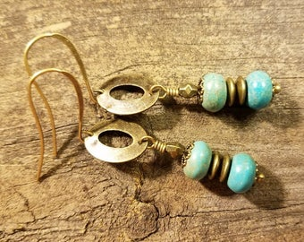 Boho Earrings, Dangle Earrings, Turquoise Earrings