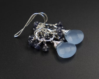 Blue quartz iolite sterling silver earrings handmade semiprecious stone faceted blue quartz drop iolite cluster teardrop earrings