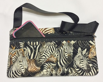 Zebra print zipper pouch made from cotton fabric, a perfect gift for an animal lover, padded zipper bag, cell phone  case, makeup bag