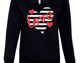 Heart sweatshirts,Love,Valentine shirts,Gift for her,cute heart shirt,glitter heart,love shirt, love present,Striped heart Love tee