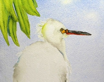 watercolor bird painting bird art original watercolor Snowy Egret by Betty Moore