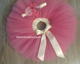 Rose Pink Tutu Set, Vintage Tutu, Photo Prop Tutu, Newborn Rose Tutu, Toddler Tutu, Girls Tutu Skirt, Dusty Rose Tutu and Headband