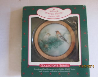Hallmark Keepsake Collectible Christmas Ornament Purple Finch 1988
