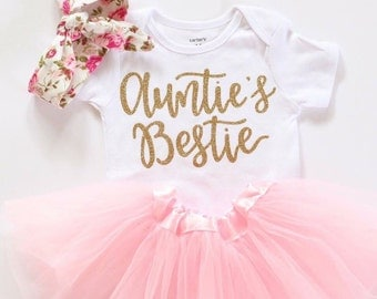 Aunties Bestie onesie, Baby girl clothes, aunties bestie Shirt, mamas mini onesie, gold glitter bodysuit, baby girl onesie