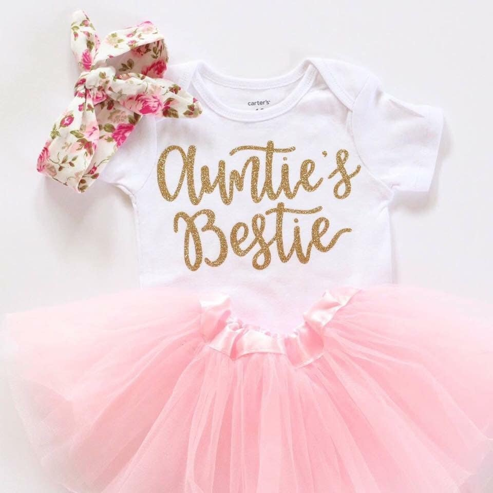 Aunties Bestie Outfit Baby Girl Clothes Aunties Bestie Shirt - Baby girls clothes