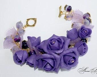 Polymer clay jewelry. Handmade polymer clay flower bracelet.