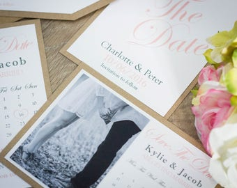 Handmade Save the date cards, Invitation, Vintage Blush, wedding save the date cards