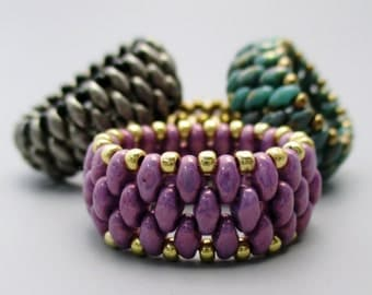 TUTORIAL Beaded Ring with Mini Duo Beads
