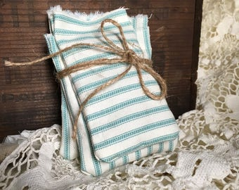 Set (3) lavender sachets/ aqua ticking stripe cotton fabric/ organic french lavender