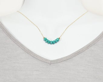 Turquoise Rondelle Stone Beaded Necklace