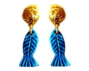 YVES SAINT LAURENT ~ Authentic Vintage Gold Plated Blue Fish Dangling Clip On Earrings