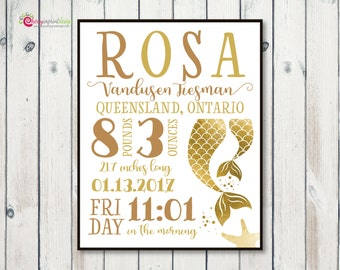 Personalized Mermaid Tail Birth Announcement Statistic - Nursery Decor - Baby Stats - Girl Baby Shower Gift DIGITAL DIY Printable