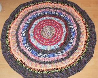 Bohemian Gypsy,Round Rug  Crochet Round Rag Rug Mat Bathroom Eco friendly colorful, Yoga Mat