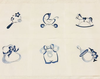 6 BABY BOY'S Embroidered Quilt Blocks * 8 inch squares