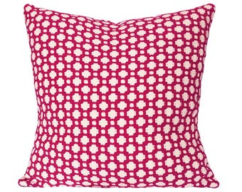 Schumacher Pink Betwixt Pillow Cover - Decorative Pillow - Both Sides - 10x20, 12x16, 12x20, 14x18, 14x24, 16x16, 18x18, 20x20, 22x22, 24x24