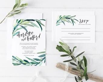 Printable Wedding Invitation Set | Floral Wedding Invitation Suite | Botanical Invitation Set | Invitation, RSVP, Details Card | WI-025