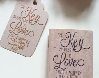 custom  Stamps -Key to Happiness, key of happiness- Wedding Favor Stamp and Favor Idea -Thank You stamp-wedding stamp -