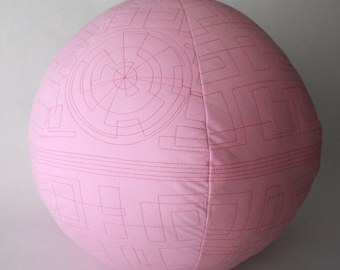 Pink Death Star quilted pillow