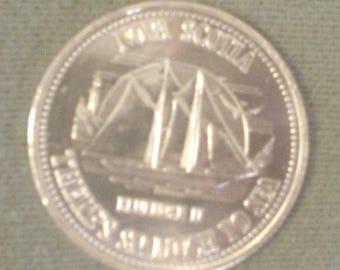 Vintage Captain's Log Master Mariner Nova Scotia There's So Much Sea Silvertone Coin Bluenose II Replica of Original Schooner Collect EC BIN