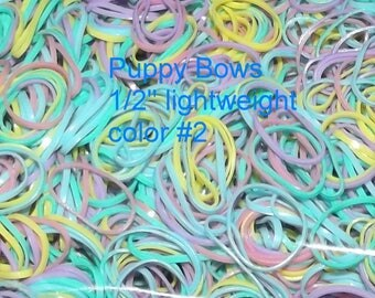 """Puppy Bows ~ Non Latex COTTON CANDY Dog Grooming Bands ~LIGHTWEIGHT 1/2"""" elastic dog bows bow topknot band ~Us seller"""