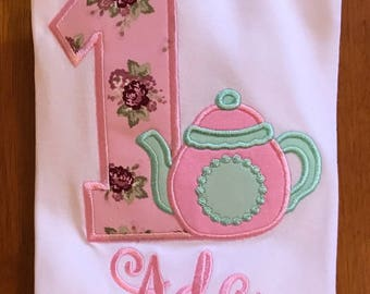 Pink and mint teapot birthday shirt or baby bodysuit