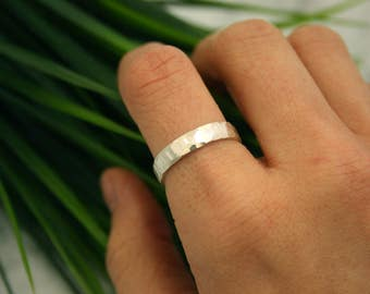 Faceted Silver Stacking Ring